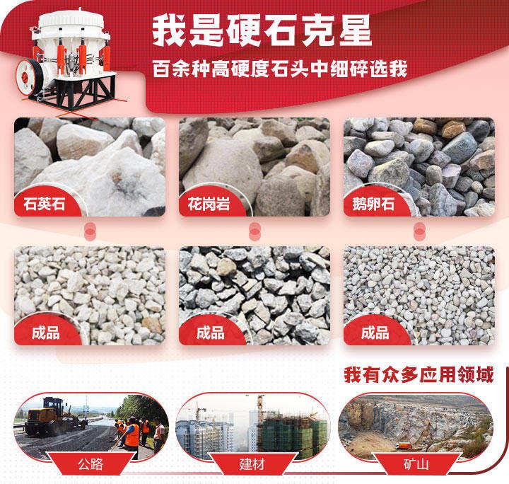圆锥破碎机适用物料石英石,河卵石,鹅卵石
