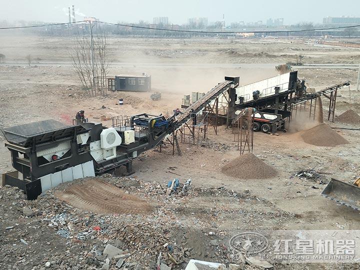 建筑垃圾移动破碎站工作现场