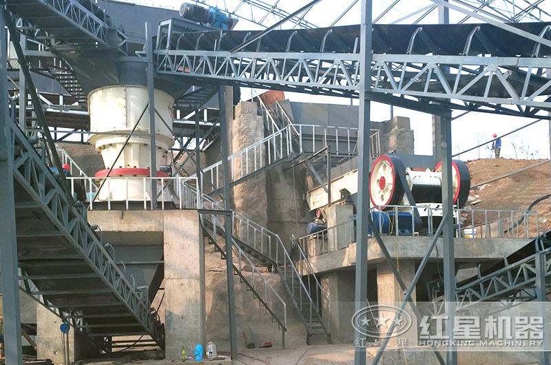 一小时200吨碎石生产线现场图片