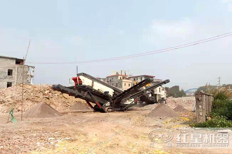 履带式建筑垃圾破碎机生产现场图片