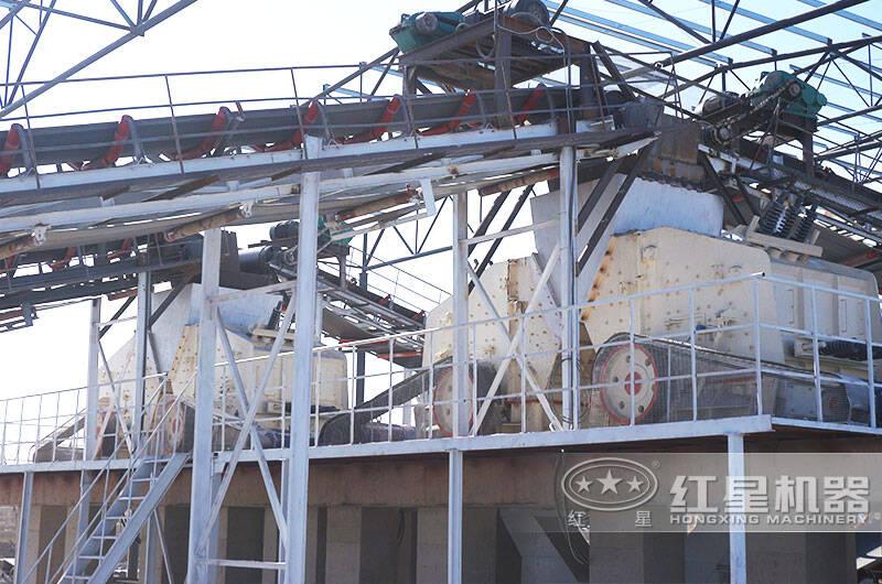 河北时产1000吨破碎生产线现场:反击式破碎机