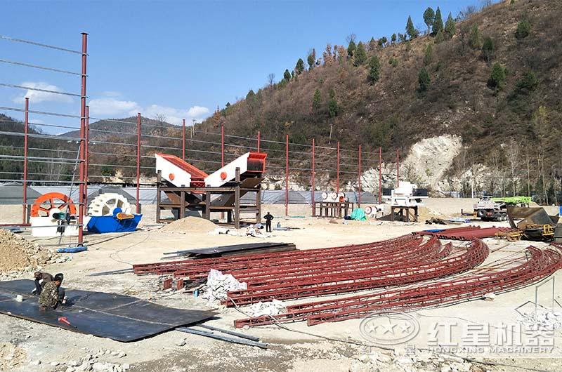 砂石生产线设备安装现场